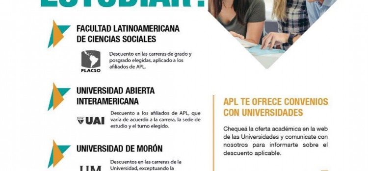APL: Descuentos para realizar carreras de grado y posgrado en diversas universidades