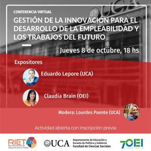 """Conferencia virtual abierta: """"Gestión de la innovación para el desarrollo de la empleabilidad y los trabajos del futuro"""""""