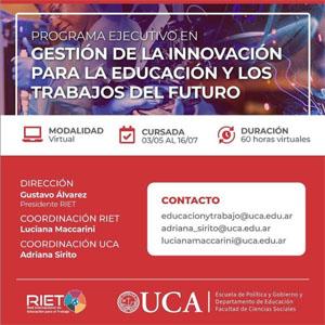 RIET-UCA: Abierta la Inscripción para el Programa Ejecutivo en Gestión de la Innovación para la Educación y los Trabajos del Futuro