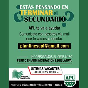 APL: Última semana de inscripciones para el programa de finalización del Secundario