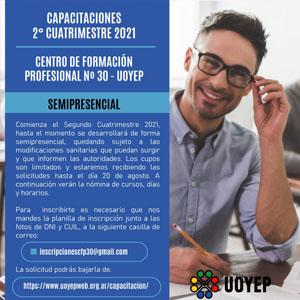CFP nº 30 UOYEP: Oferta de cursos 2do cuatrimestre 2021